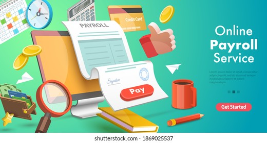 3D Isometric Flat Vector Conceptual Illustration of Payroll or Salary Payment, Financial Calendar, Expenses Calculator.