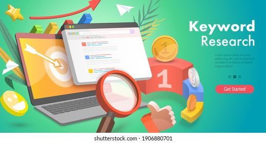 3D Isometric Flat Vector Conceptual Illustration of Keyword Research, Tracking Tool for Keyword SEO Ranking, Web Analytics, Website Optimization Marketing.