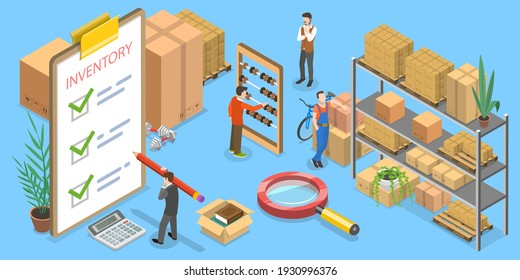 3D Isometric Flat Vector Conceptual Illustration of Product Inventory Management.
