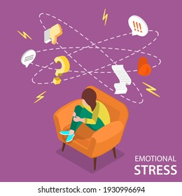 3D Isometric Flat Vector Conceptual Illustration of Emotional Stress, Anxiety and Dizziness.