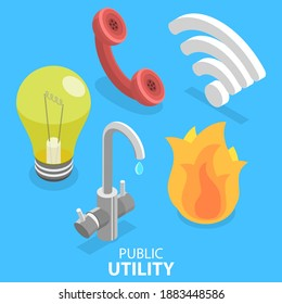 3D Isometric Flat Vector Illustration of Utility Services Icon Set, Electricity, Water, Gas, Wifi, Telephone.