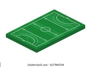 3D isometric grass hockey field. Sport theme vector illustration, hockey sports field, stadium. Isolated editable design element for infographics, banner