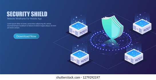 3D isometric illustration of Futuristic security shield server for data protection concept landing page or web template design.