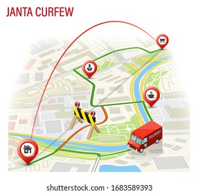 3D Isometric janta curfew map navigation, lockdown point marker isometry, quarantine drawing schema with cargo