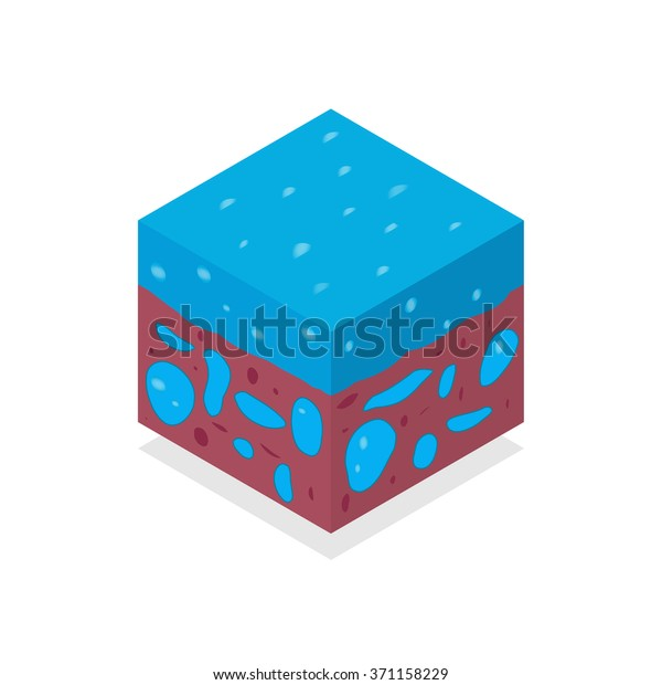 3d Isometric Landscape Cube Ground Water Stock Vector