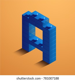 3d isometric letter A of the alphabet from lego bricks. 3d isometric plastic letter from the lego blocks