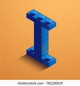 3d isometric letter I of the alphabet. 3d isometric plastic letter from the constructor blocks