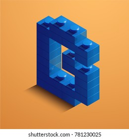 3d isometric letter B of the alphabet from lego bricks. 3d isometric plastic letter from the  lego blocks