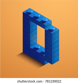 3d isometric letter D of the alphabet from lego bricks. 3d isometric plastic letter from the lego blocks