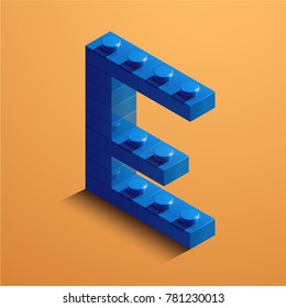 3d isometric letter E of the alphabet. 3d isometric plastic letter from the constructor blocks