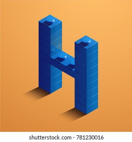3d isometric letter H of the alphabet from lego bricks. 3d isometric plastic letter from the lego blocks