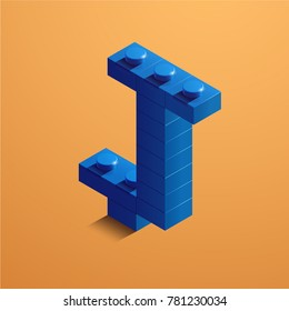 3d isometric letter J of the alphabet. 3d isometric plastic letter from the constructor blocks
