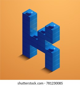 3d isometric letter K of the alphabet. 3d isometric plastic letter from the constructor blocks