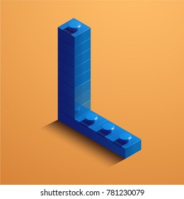 3d isometric letter L of the alphabet from lego bricks. 3d isometric plastic letter from the ego blocks