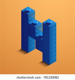 3d isometric letter N of the alphabet from lego bricks. 3d isometric plastic letter from the ego blocks