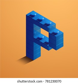 3d isometric letter P of the alphabet. 3d isometric plastic letter from the constructor blocks