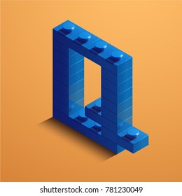 3d isometric letter Q of the alphabet. 3d isometric plastic letter from the constructor blocks