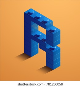 3d isometric letter R of the alphabet. 3d isometric plastic letter from the constructor blocks