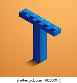 3d isometric letter T of the alphabet. 3d isometric plastic letter from the constructor blocks