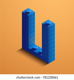 3d isometric letter U of the alphabet. 3d isometric plastic letter from the constructor blocks