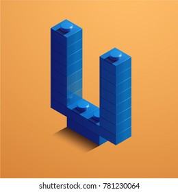 3d isometric letter V of the alphabet from lego bricks. 3d isometric plastic letter from the ego blocks