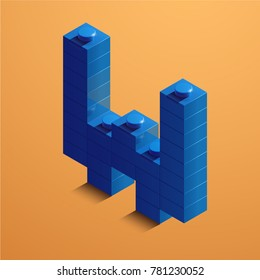 3d isometric letter W of the alphabet. 3d isometric plastic letter from the constructor blocks