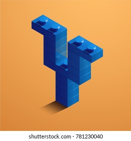 3d isometric letter Y of the alphabet. 3d isometric plastic letter from the constructor blocks