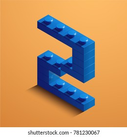 3d isometric letter Z of the alphabet. 3d isometric plastic letter from the constructor blocks