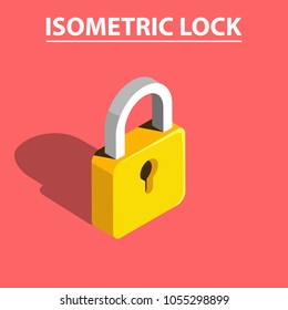 3D isometric lock vector