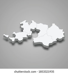 3d isometric map of Basel Landschaft is a canton of Switzerland, vector illustration
