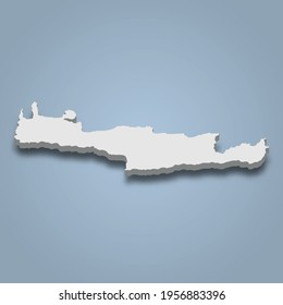 3d isometric map of Crete is an island in Greece, isolaated vector illustration