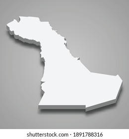 3d isometric map of Eastern Province is a Region of Saudi Arabia, vector illustration