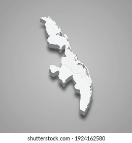 3d isometric map of Eastern Province of Sri Lanka, vector illustration