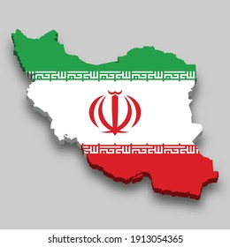 3d isometric Map of Iran with national flag. Vector Illustration.