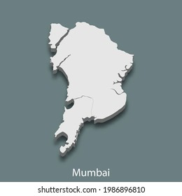 3d isometric map of Mumbai is a city of India, vector illustration
