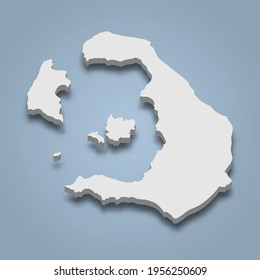 3d isometric map of Santorini is an island in Greece, isolaated vector illustration