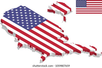 3d isometric map of USA with flag texture, capital.