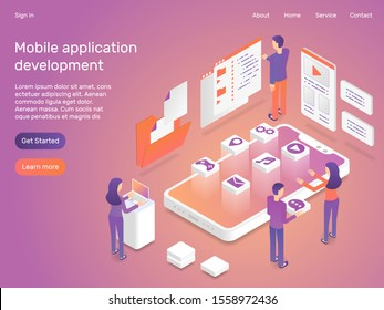 3d Isometric Mobile application development concept apps creation vector illustration