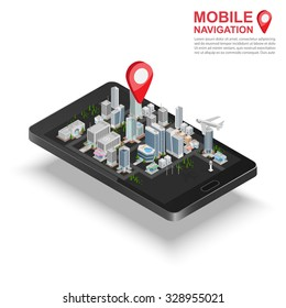 3d isometric mobile GPS navigation concept, Smartphone with city map application and marker pin pointer, vector