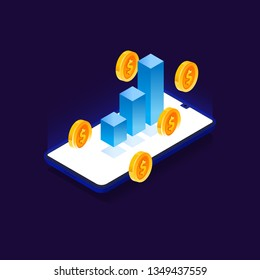 3d isometric mobile payment concept. Growth of sales rate. Vector illustration of increase conversion. Smartphone, graph and gold coins.