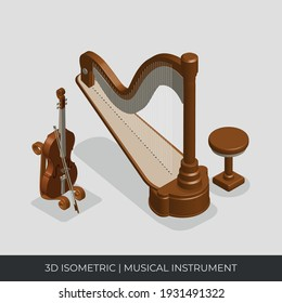 3D Isometric Musical Instruments set. Violin and Harpa vector.