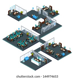 3d Isometric office with colleagues from different departments: receptionist at reception, customer service, call center, managers, director, sales manager, waiting room, office room, open space