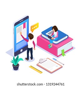 3d Isometric online learning or distance courses concept. Student reads textbook through mobile phone. Girl with laptop is sitting on stack of books. Can use for web banner, infographics. Isolated.