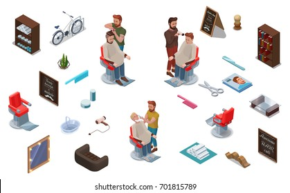 3d isometric people and barber shop interior constructor, hairdresser cutting hair, shaving, characters set, collection for hipster hair salon, beauty studio, wood furniture, barbershop accessories