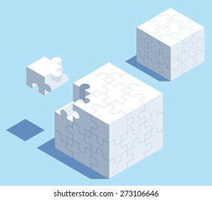 3D isometric puzzle cube with space for your content.