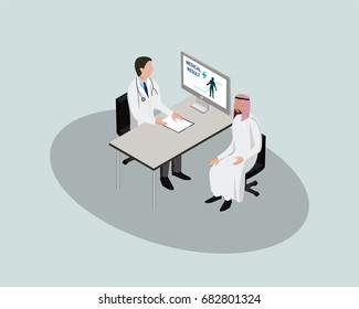 3D Isometric Saudi People character. Saudi male patient discuss with doctor in hospital. Cartoon of Arab people for web or infographic design in vector illustration