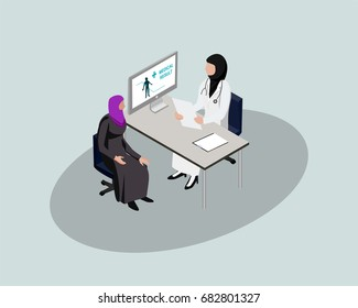 3D Isometric Saudi People character. Saudi female patient discuss with doctor in hospital. Cartoon of Arab people for web or infographic design in vector illustration