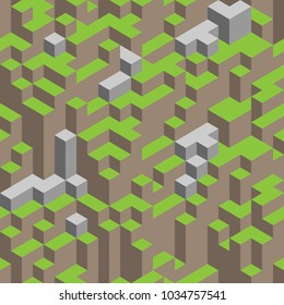 3d isometric seamless pattern. Cube landscape. Hills