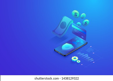 3D Isometric secure online payment by smartphone concept. Online shopping, Secure bank transaction with password and finger print verification vector