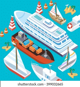 3d isometric set ships. Sea transport. Island and buoy, motorboat and containership, cruise and tanker, cargo shipping, boat transportation, ocean and vessel on blue background. Sea transport vector
